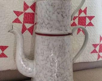 """Red biggin snow-on-the-mountain graniteware 13 1/2""""!"""