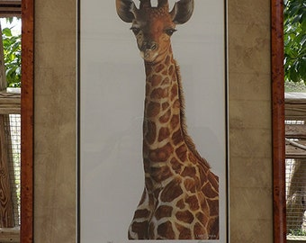 Giraffe Art Print Wildlife Painting