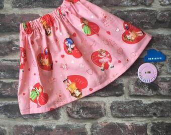 Valentine's Day girls skirt/valentines baby skirt/pink love heart skirt/retro valentines skirt/vintage girls skirt/cake smash outfit