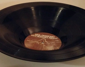 """Neil Diamond Recycled Smooth Vinyl Record Bowl """"Hot August Night"""""""