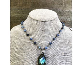 Blue Soldered Pendant Necklace