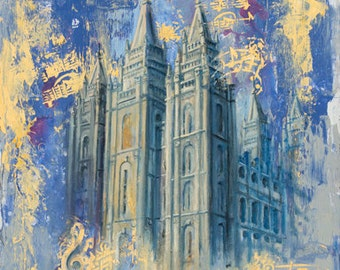 NEW PIECE! Salt Lake Utah LDS Mormon Temple Art.  Beautiful and Unique Canvas Print for your Home or as a Gift!