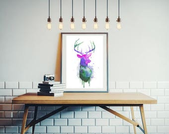 reproduction deer multicolor dyed cold 8 x 10 inches