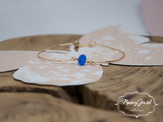 Bangle, gold bracelet, blue crystal bangle, handmade bangle, crystal charm, unique handmade bangle, gold bangle, made in Italy, gift for her