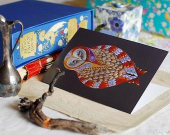 Barn Owl Greeting Card, Owl art card, Wise Owl card, Barn Owl Art Card, Blank Owl Card, Owl Totem card, Owl Spirit Animal art, Owl Totem Art