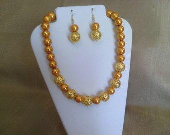 288 Beautiful Large Gold Glass Pearls and Gold Filigree Beads Beaded Choker