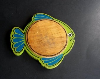 Vintage Wood Fish Trivet Wood Pot Holder