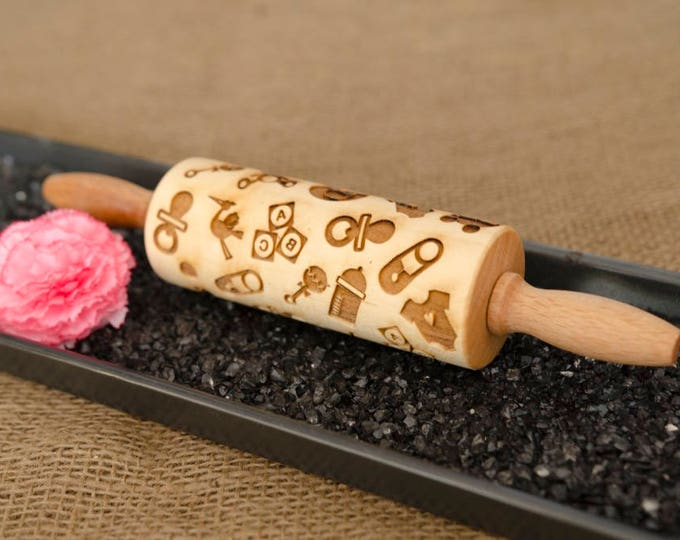 BABY SHOWER rolling pin + 4 x Gift Free ! , embossing rolling pin, engraved rolling pin for a gift, new kids, new kid, new baby, laser