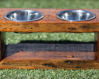 Reclaimed Wood Dog Bowl Stand - Two Bowls