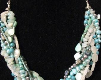 Multi-Strand Beaded Necklace - Turquoise Colors/Beach Theme