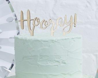 Wooden Hooray Cake Topper | Wedding | Engagement | Wooden Cake Topper
