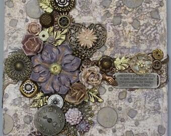 3D Heart Art - Wall Art - Assemblage Canvas Art - Found Objects - Original Collage - Mixed Media Art - Steampunk - 3D Art - Altered Art