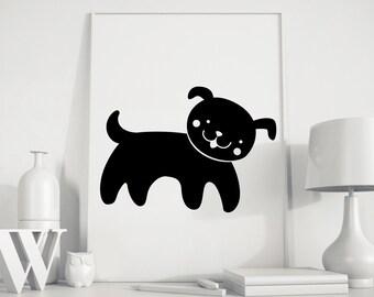 Dog poster, dog kids art, dog wall art, dog kids print, dog print, Animals Nursery,gender neutral, kids room, kids art, kids room decor