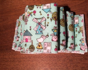 Washcloths in a sweet treat for baby cotton flannel