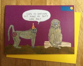 Baboon Butt Birthday Card