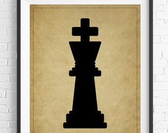 Chess Art, King Chess Piece Print, Board Game Art, Game Room Wall Art, Game Room Art, Game Room Decor, Nerd Gifts, Geek Gift, Gifts for Dad
