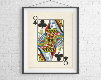Queen of Clubs, Playing Card Art, Game Room Decor, Game Room Art, Poker Gifts, Gambling Gift, Office Wall Art, Man Cave Art, Bar Decor