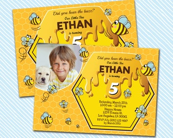 Digital Printable Bee Birthday Invitation. Boy Birthday Party