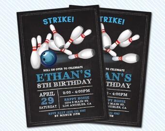 Digital Printable Bowling Birthday Invitation. Sports Birthday. Girl Birthday. Boy Birthday