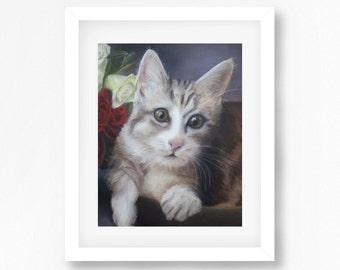Tabby Cat Drawing, Cute Kitten Print, Realistic Cat Art, Original Kitten Print, Kitten Illustration, Cat Decor, Kitten Wall Art, Cat Art