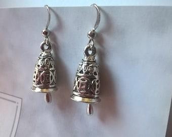 bell earrings, womans earrings, dome earrings, dangle earrings, drop earrings, patterned earrings, bell jewellery, silver earrings