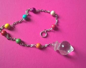 clear dowsing pendulum, rainbow chain pendulum, weather witch water drop pendulum,