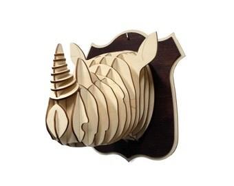 Wooden Rhino Head Trophy Birch Wood Rhino Head Wood Wall Art Home Decor Animal Art