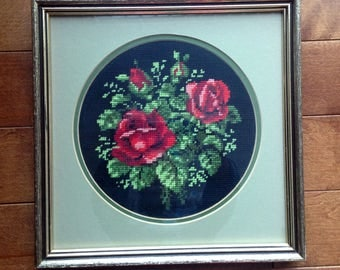 Swedish Embroidery - Roses - Wool - Vintage, Glass Framed