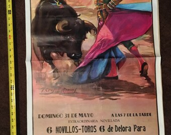 Authentic Bull Fighting Poster / Advertisement from Vallencia Spain