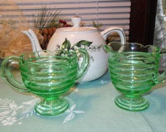 Green Glass Creamer & Sugar Bowl