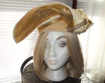 Metallic Gold Bellini Hat Designer Hat Rare Free Shipping