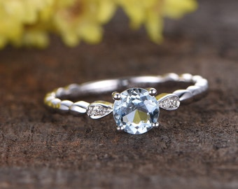 6.5mm round cut blue aquamarine engagement ring,14k white gold diamond wedding band,anniversary ring,gift for her,Bamboo style,good luck gem