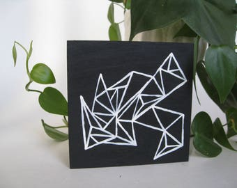 Geometric Prism Design, black and white hand painted wood sign