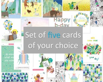 Set of 5 postcards of your choice - stationary, happy mail, botanical floral animal illustration, colourful digital print, kids, wall decor
