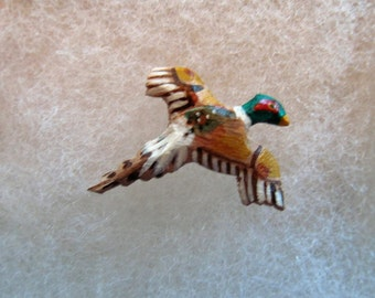 Pheasant in Flight Jewelry Pin - handcarved and handpainted