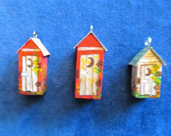 Minature Outhouses  - handcarved and handpainted