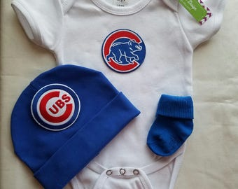 baby  chicago cubs outfit-baby chicago cubs-chicago cubs baby shower gift-chicago cubs outfit-chicago cubs baseball baby outfit/newborn cubs