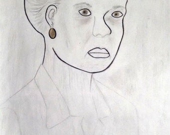 Woman With Gold Earring - Mixed Media,Drawing/Painting,Realism, Modern Expressionism