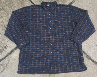 Vintage Wu Tang Clan Wu Wear Button Up All Over Print Shirt Hip Hop Rap Raptees Rare
