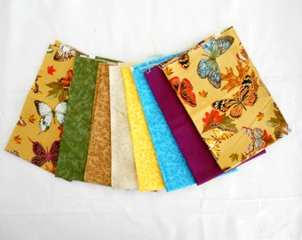 Butterfly Autumn/Fall Metallic Fabric Fat Quarter Bundle 8pc. -brown/green/yellow/blue/ivory/purple-berry (#O117)