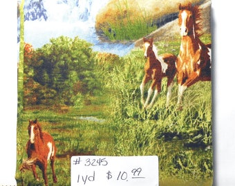 Fabric - 1yd piece-Horse Scenic-Running Wild/Outdoors/Rustic/Country/Wild/Mustang/Western/Mountains (#3245)Quilting Treasures 1649 23736 X