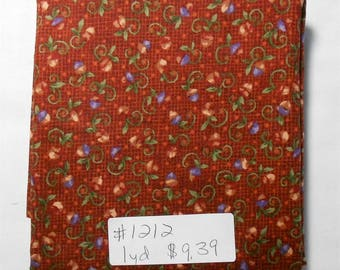 Fabric - 1yd piece- Small floral design/coord. fall leaves/red background/purple/green/acorns(#1212)Acorn Hollow by Nancy Halvorsen/Benartex