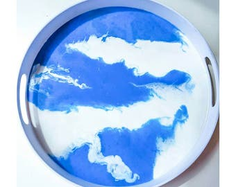 Blue and white resin serving tray