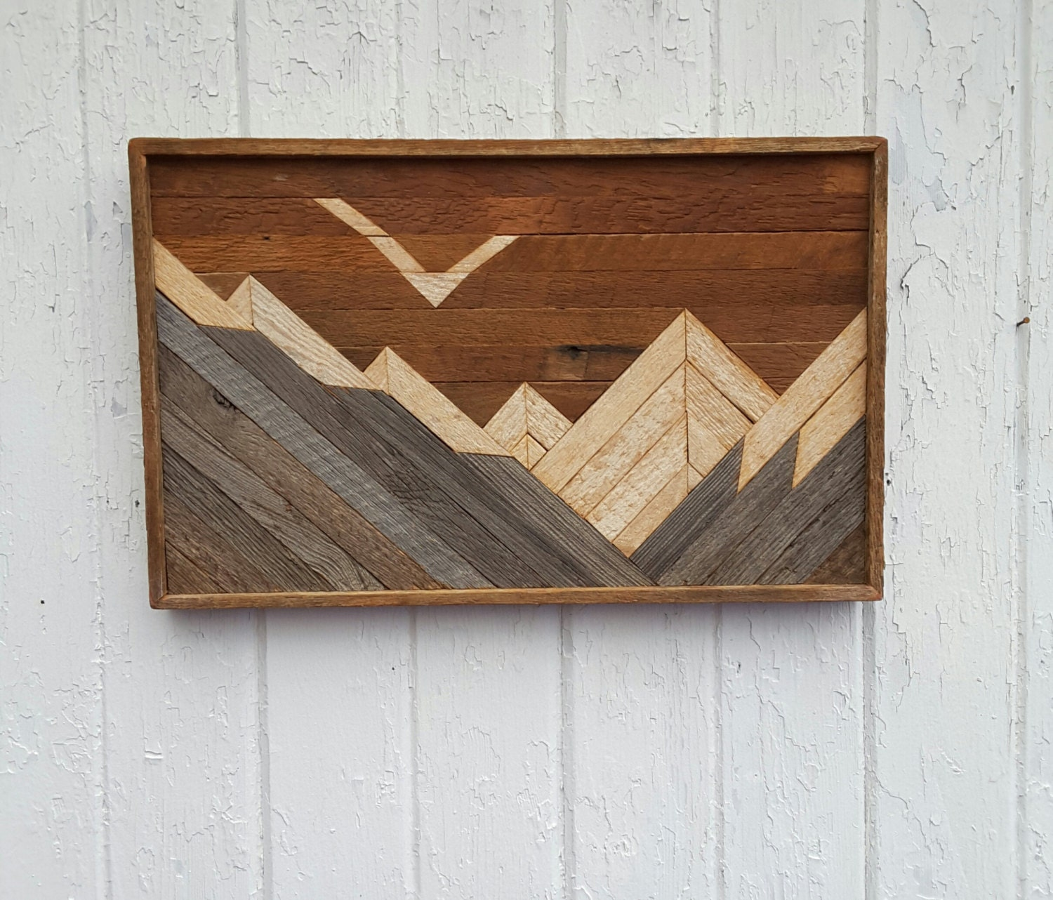 Reclaimed wood wall art mountains decor lath