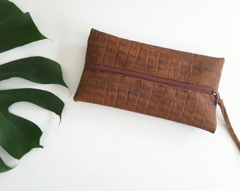 "Wallet made of Cork ""Croco Brown"""