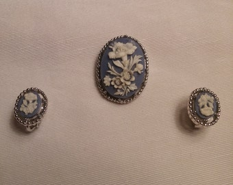 Signed Trifari Wedgwood Cameo Brooch and Earrings Set FREE SHIPPING