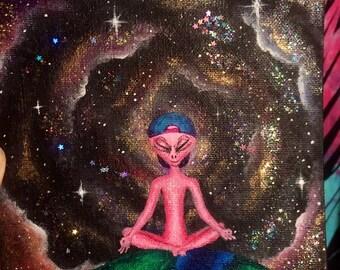 Original acrylic alien painting