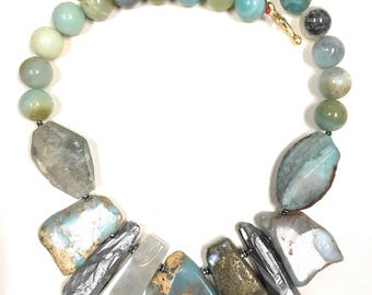 Gemstone bead necklace.  Amazonite, chalcedony, jasper, quartz necklace.  One of a kind statement necklace. Exclusive and unique design