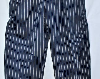 Women's Couture Givenchy Navy Blue Pinstripe Pants/1980s Givenchy Women's Pants/1980s Women's Pants/Women's Light Wool Givenchy Pants