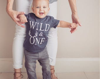 boys first birthday shirt, navy wild one, boys tshirt, birthday tee, toddler birthday, birthday gift for boys, one year old,
